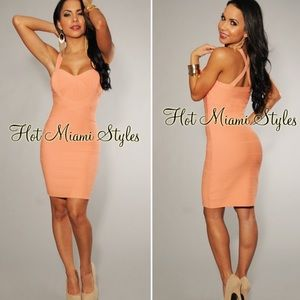 Hot Miami Styles Tangerine Orange Bandage Dress